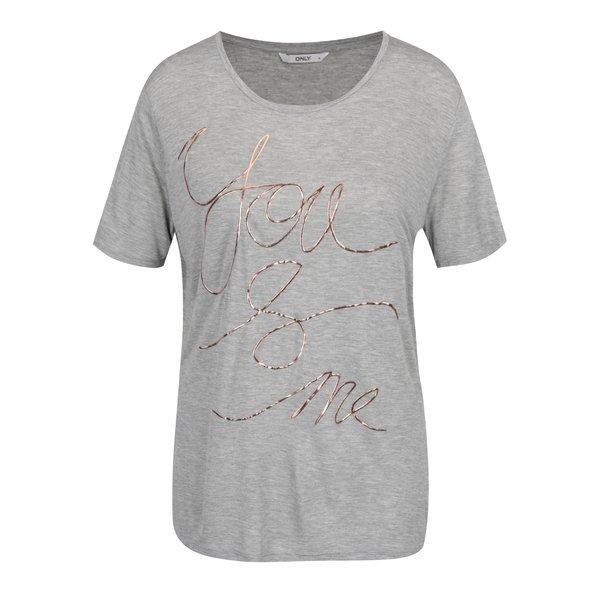 Tricou gri melanj ONLY You And Me cu print de la ONLY in categoria tricouri