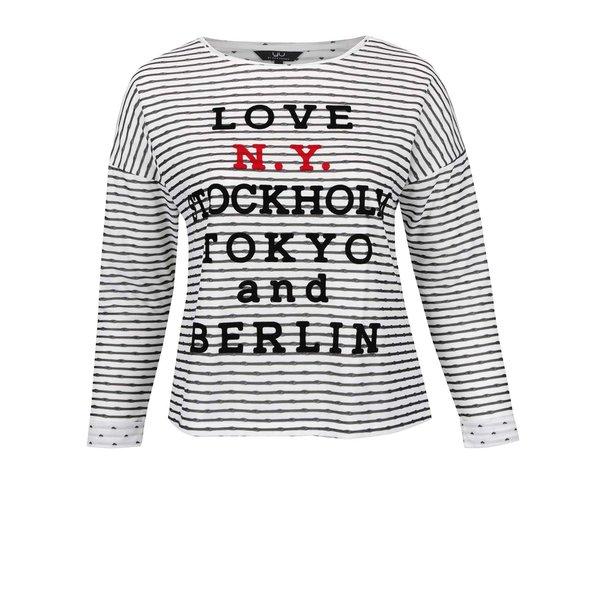 Bluză crem & negru Ulla Popken cu model în dungi