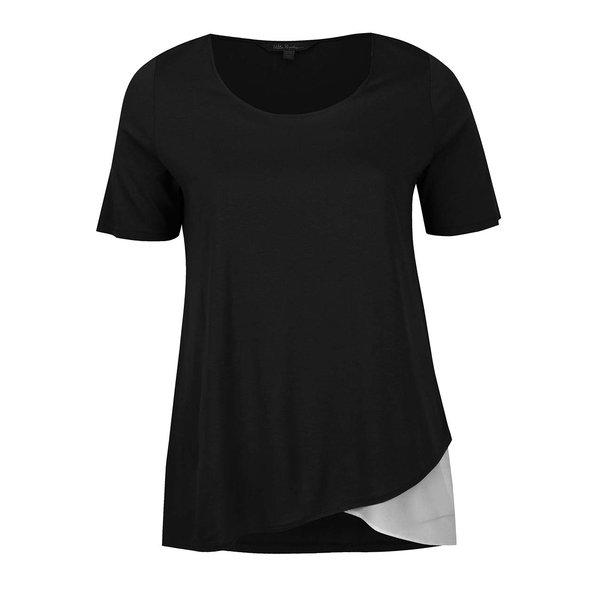Tricou negru & crem Ulla Popken cu croi asimetric