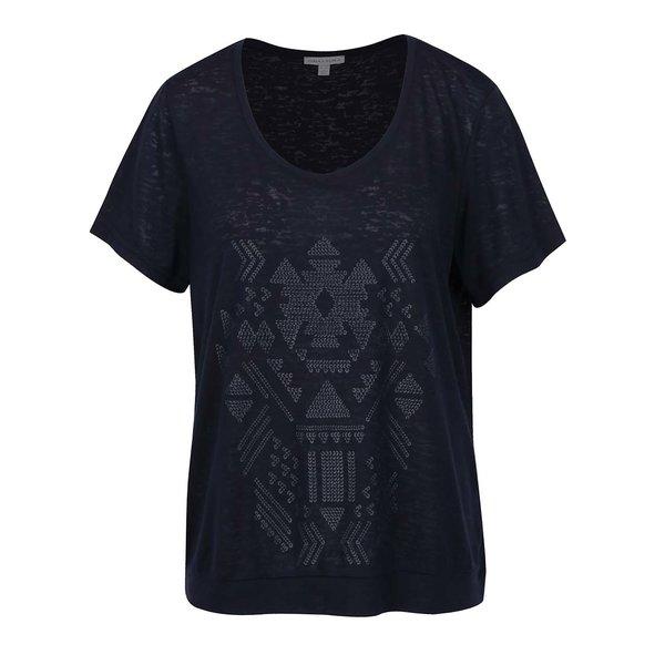 Tricou bleumarin Gina Laura cu imprimeu de la Gina Laura in categoria Mărimi curvy