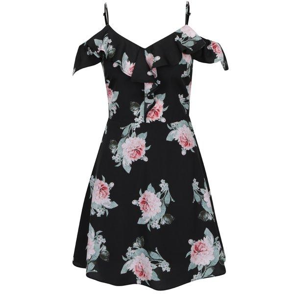 Rochie neagră TALLY WEiJL cu model floral de la TALLY WEiJL in categoria rochii de vară și de plajă