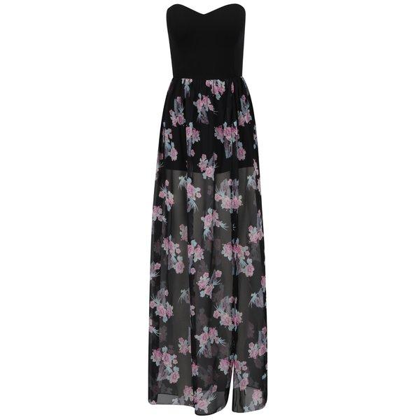 Rochie neagră TALLY WEiJL cu model floral în partea inferioară de la TALLY WEiJL in categoria rochii de vară și de plajă