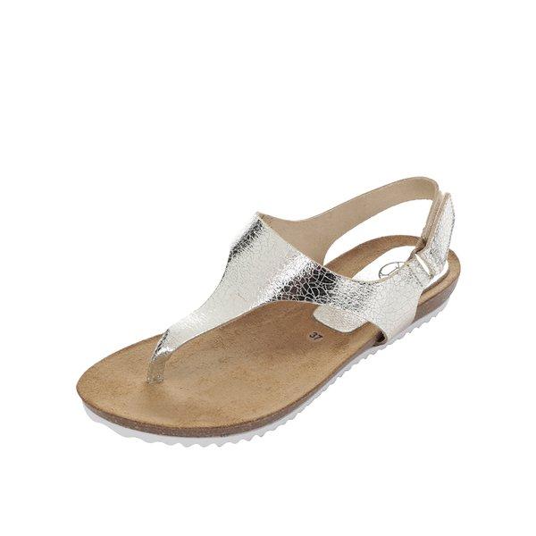 Sandale flip flop aurii din piele OJJU de la OJJU in categoria sandale