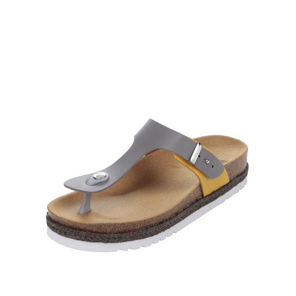 Papuci flip-flop gri & galben Scholl Idylla din piele de la Scholl in categoria șlapin