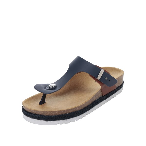 Papuci flip-flop beumarin & maro Scholl Idylla din piele