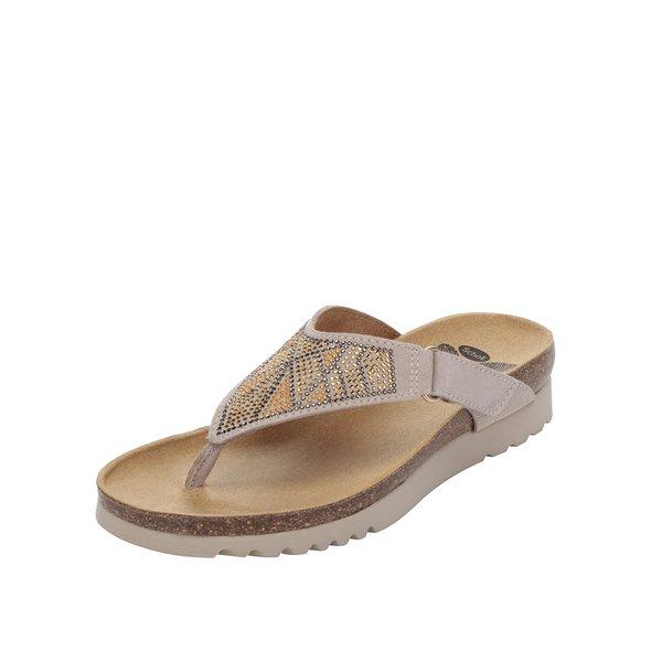 Papuci flip-flop bej Scholl Kimi din piele de la Scholl in categoria șlapin