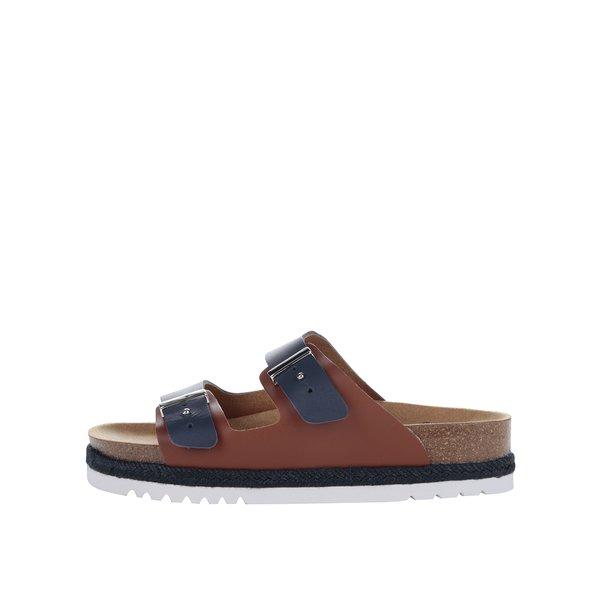 Papuci bleumarin & maro Scholl Olympe din piele de la Scholl in categoria șlapin