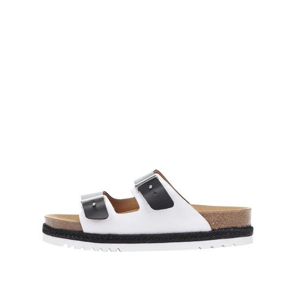 Papuci alb & negru Scholl Olympe din piele de la Scholl in categoria șlapin