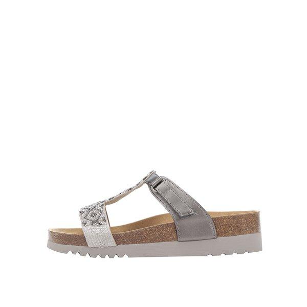 Papuci argintii Scholl Astrelle cu model de la Scholl in categoria șlapin