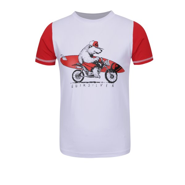 Tricou surf roșu&alb Quiksilver Bear On The Way pentru băieți de la Quiksilver in categoria Lenjerie intima, slipuri