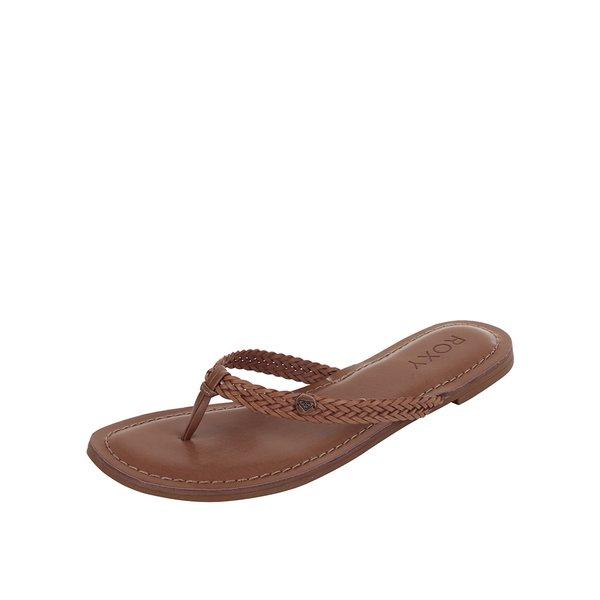 Papuci flip-flop maro Roxy Carmen cu barete împletite de la Roxy in categoria șlapin