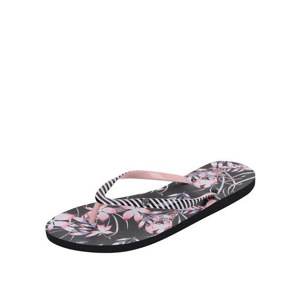 Papuci flip-flop negri Roxy Portofino cu model floral și în dungi de la Roxy in categoria șlapin