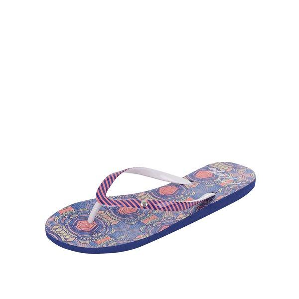 Papuci flip-flop albastru & portocaliu Roxy Portofino cu model geometric și în dungi de la Roxy in categoria șlapin