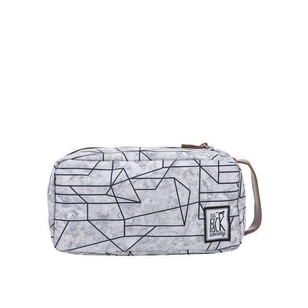 Geantă gri unisex pentru cosmetice The Pack Society cu imprimeu geometric