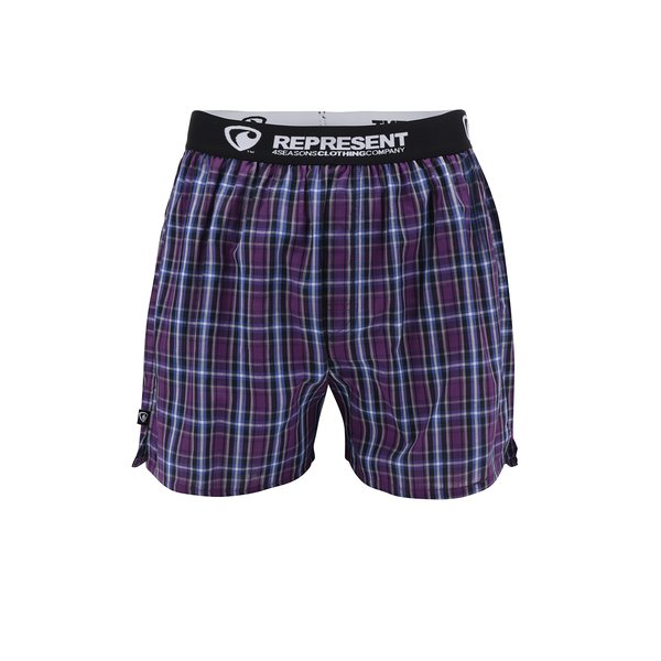 Boxeri bleumarin&mov cu model în carouri Represent Mikebox de la Represent in categoria Lenjerie intimă, pijamale, șorturi de baie