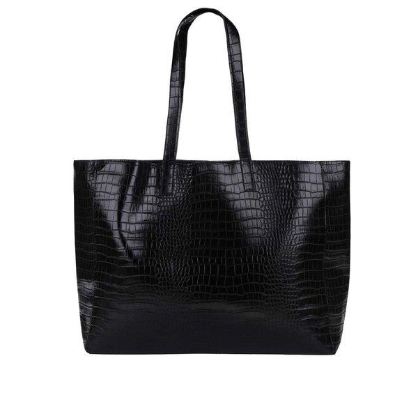 Geantă shopper neagră Pieces Elana cu aspect de piele de șarpe de la Pieces in categoria genți mari