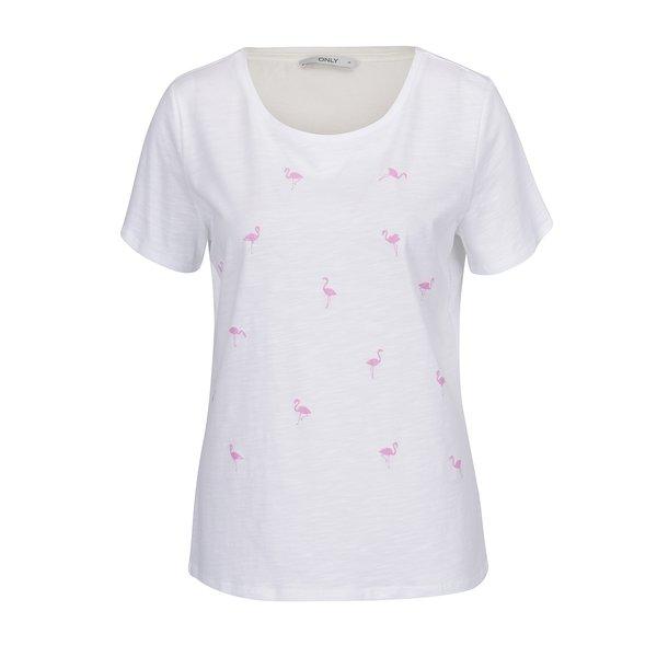 Tricou alb ONLY Puff cu imprimeu cu flamingo de la ONLY in categoria tricouri