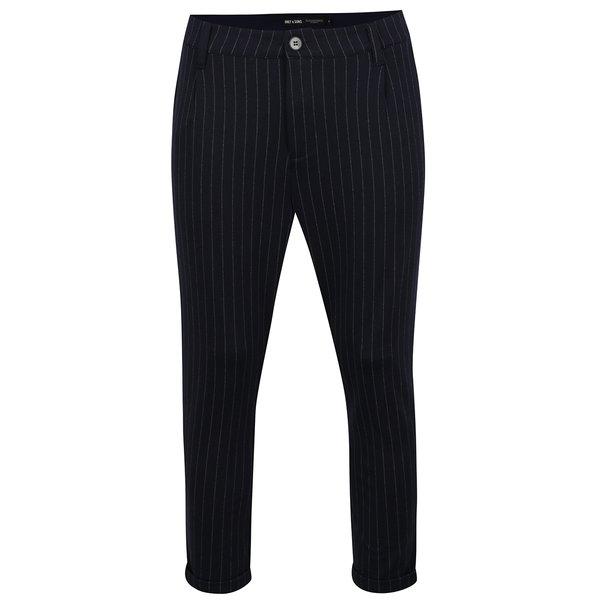 Pantaloni chino albastru închis ONLY & SONS Pin cu model în dungi