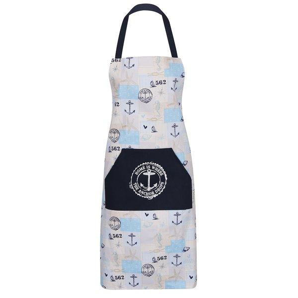 Șorț albastru Cooksmart cu imprimeu cu ancore și buzunar frontal de la Cooksmart in categoria Bucătăria