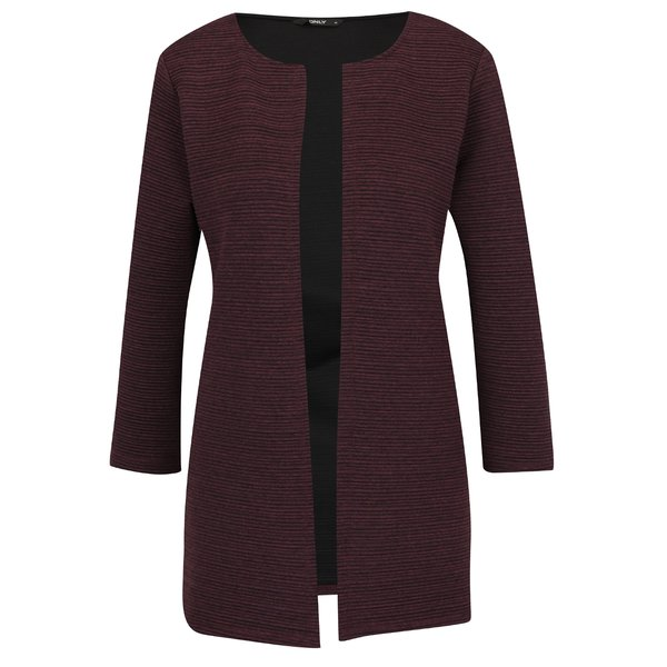 Cardigan vișiniu ONLY Leco cu model cu striații de la ONLY in categoria Pulovere și hanorace