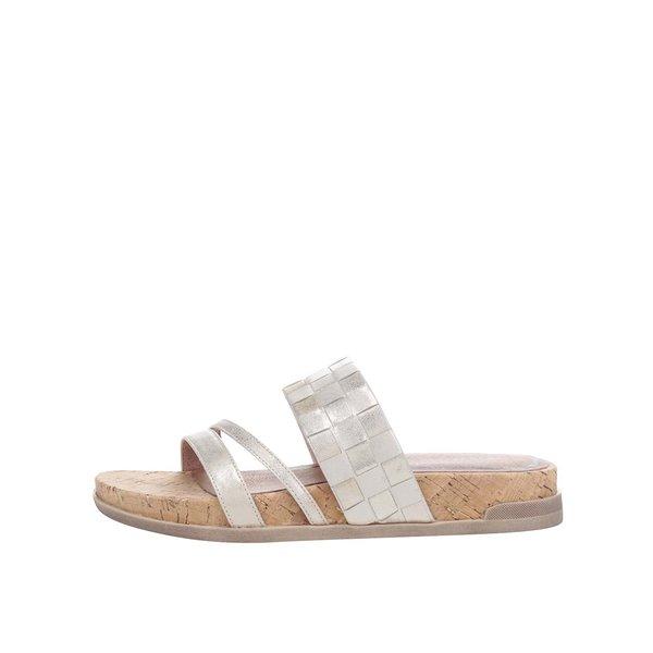 Papuci aurii Tamaris din piele de la Tamaris in categoria șlapin