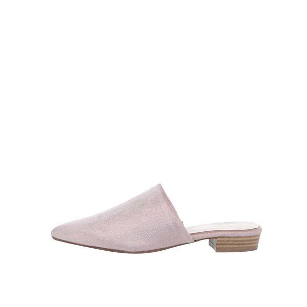 Saboți roz pal Tamaris cu aspect de piele întoarsă de la Tamaris in categoria pantofi cu toc