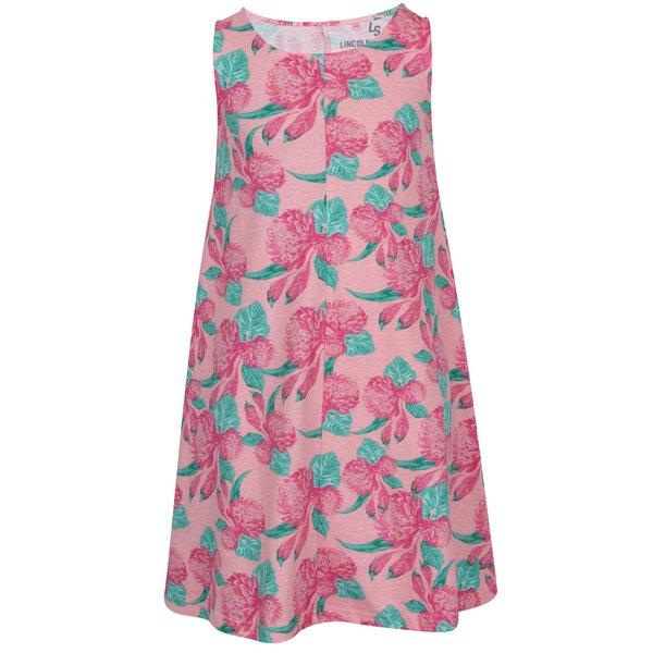 Rochie roz 5.10.15 cu imprimeu pentru fete