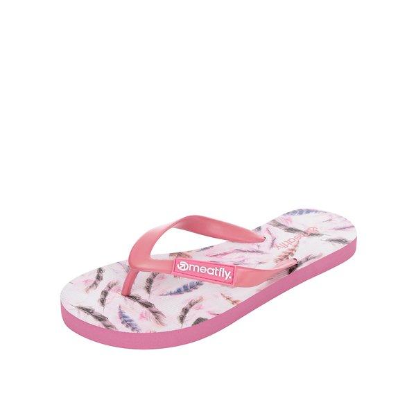 Șlapi roz MEATFLY Wings cu imprimeu de la Meatfly in categoria șlapin