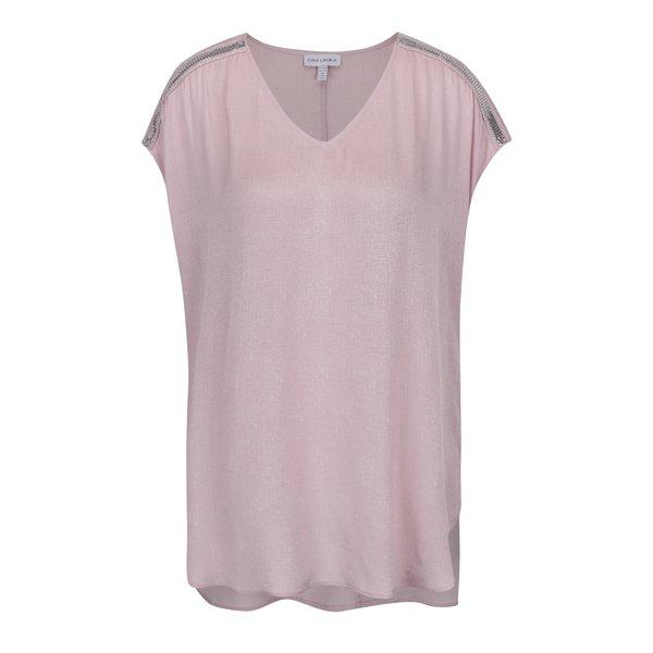 Tricou roz prăfuit Gina Laura cu aplicații pe umeri de la Gina Laura in categoria Mărimi curvy