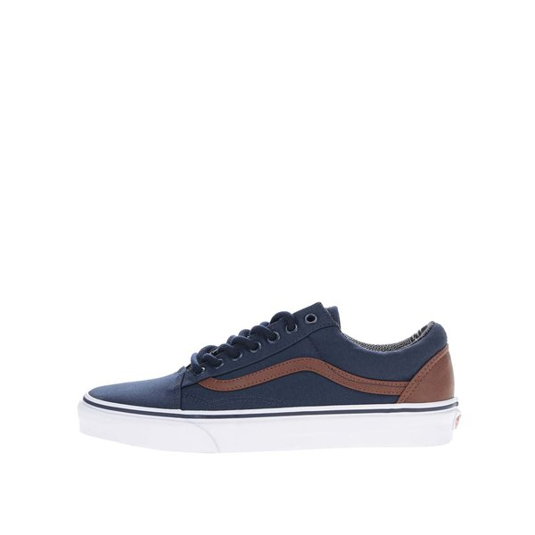 Pantofi sport albaștri VANS Old skool cu detalii maro de la VANS in categoria pantofi sport și teniși