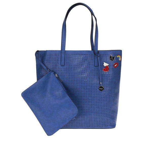 Geantă shopper albastră cu perforatii Nalí 2 în 1