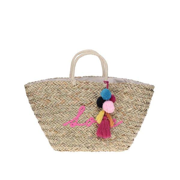 Geantă bej shopper din rafie decorata cu ciucuri Nalí