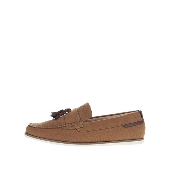 Mocasini maro deschis Burton Menswear London cu aspect de piele întoarsă de la Burton Menswear London in categoria pantofi și mocasini