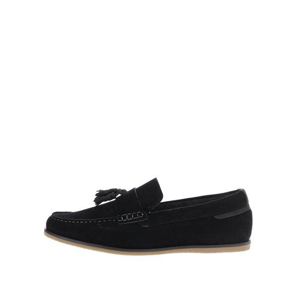 Mocasini negri Burton Menswear London cu aspect de piele întoarsă de la Burton Menswear London in categoria pantofi și mocasini