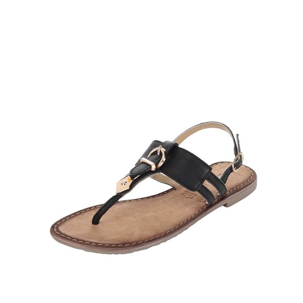 Sandale flip-flop negre din piele Tamaris de la Tamaris in categoria sandale