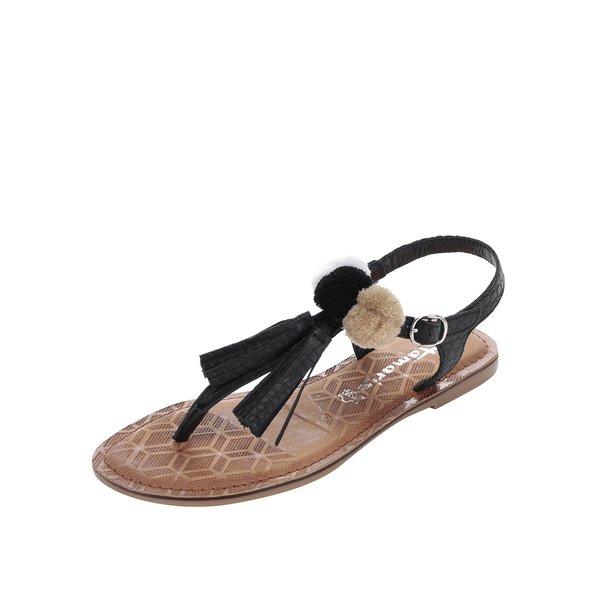 Sandale flip-flop negre din piele Tamaris cu ciucuri de la Tamaris in categoria sandale