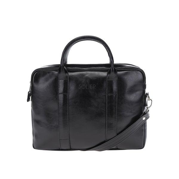 Geanta neagra din piele pentru laptop Solier de la Solier in categoria Rucsacuri, genți, portofele