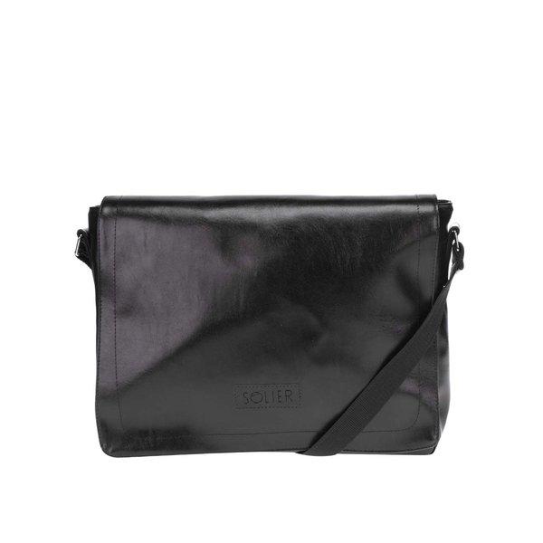 Geanta pentru laptop neagra cu logo Solier de la Solier in categoria Rucsacuri, genți, portofele
