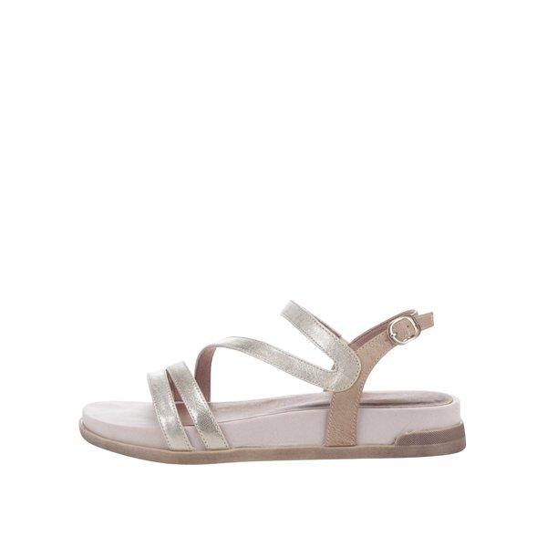 Sandale crem&argintii din piele cu platformă Tamaris de la Tamaris in categoria sandale