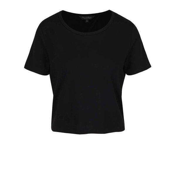 Tricou negru crop Miss Selfridge cu decupaj pe partea din spate