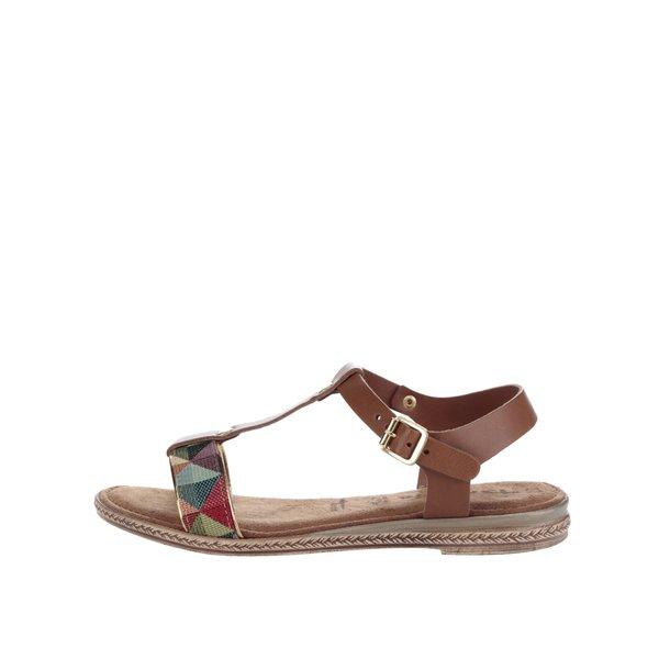 Sandale maro din piele Tamaris cu aplicație textilă de la Tamaris in categoria sandale
