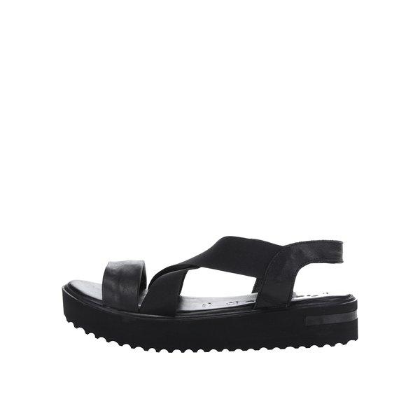 Sandale negre din piele Tamaris cu platformă și barete elastice de la Tamaris in categoria sandale