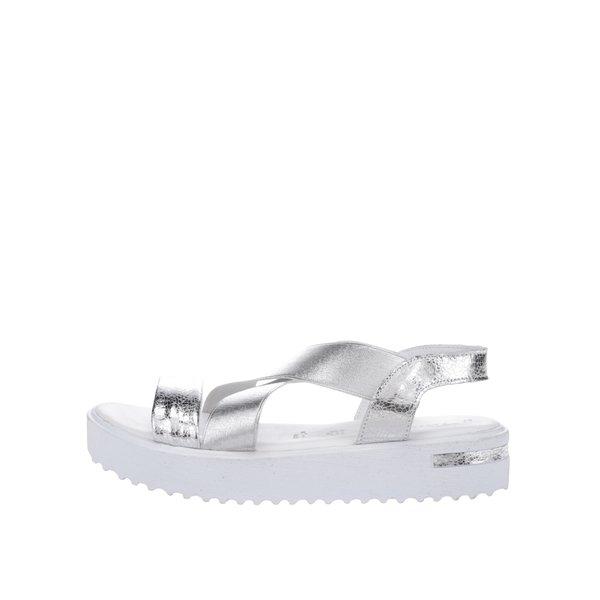 Sandale argintii din piele Tamaris cu platformă și barete elastice de la Tamaris in categoria sandale