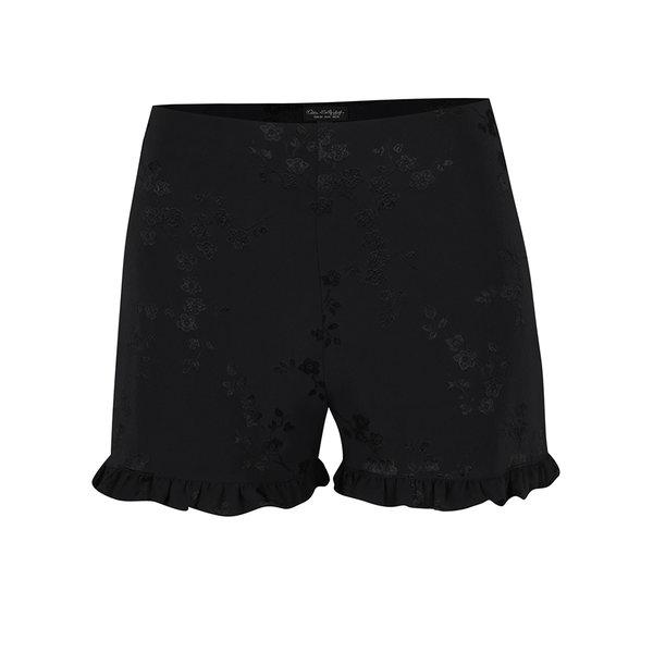 Pantaloni scurți negri Miss Selfridge cu volănașe