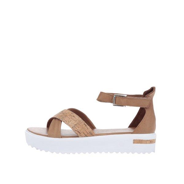 Sandale maro&albTamaris cu platformă și călcâi acoperit