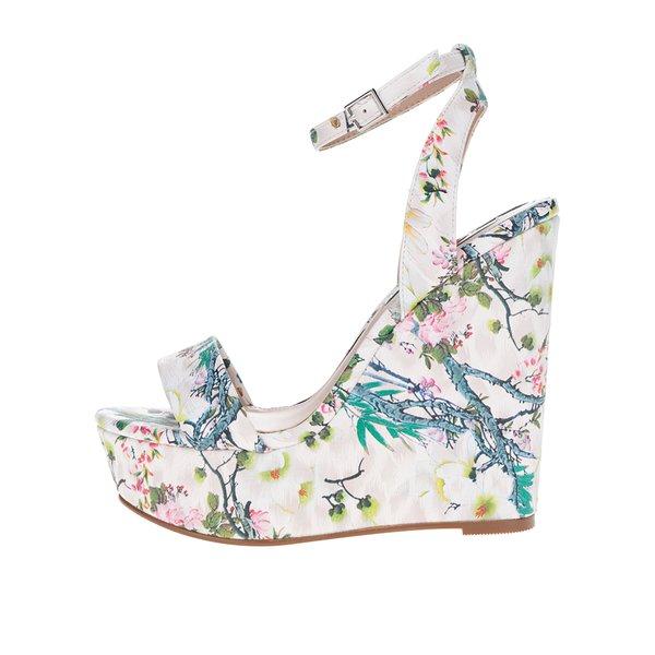 Sandale crem cu platforma si model floral Miss Selfridge
