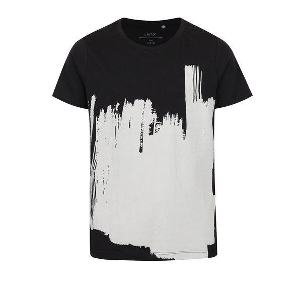 Tricou negru pentru baieti cu print alb LIMITED by name it Oville