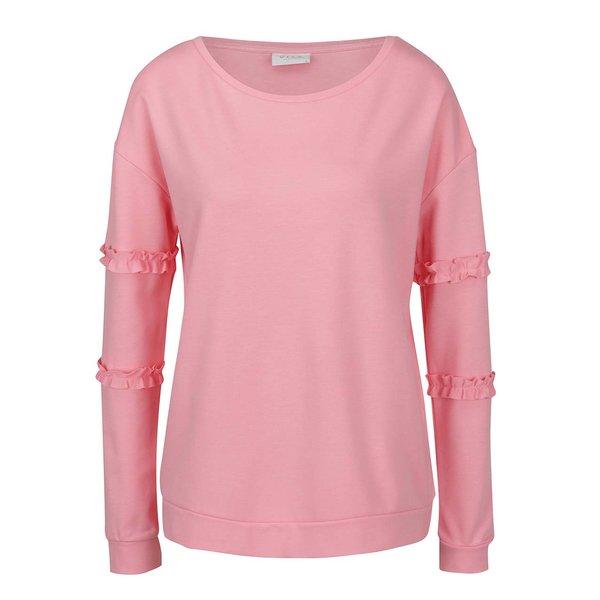 Bluză roz cu mâneci lungi și volănașe VILA Hasa de la VILA in categoria Pulovere și hanorace