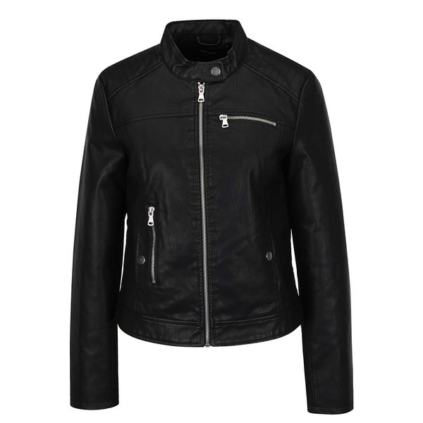 Geacă neagră VERO MODA Chanine din piele sintetică de la VERO MODA in categoria Geci, jachete și sacouri