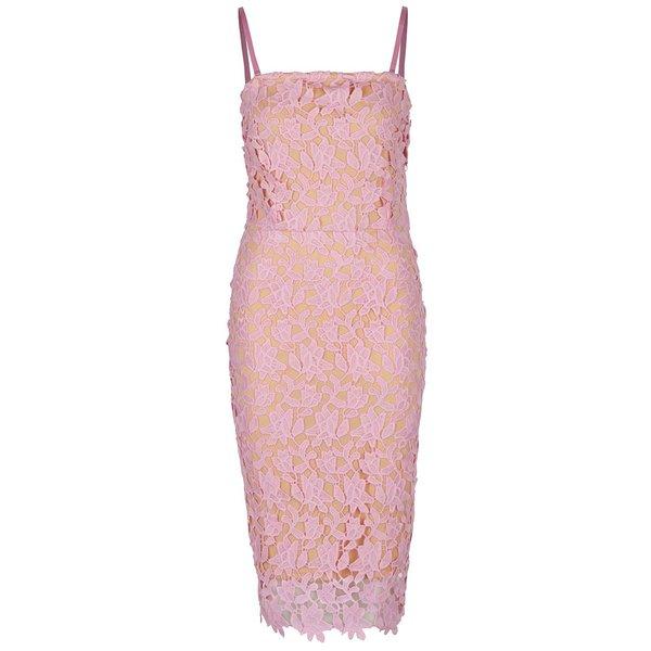Rochie bodycon roz&crem VERO MODA Beauti din dantelă spartă